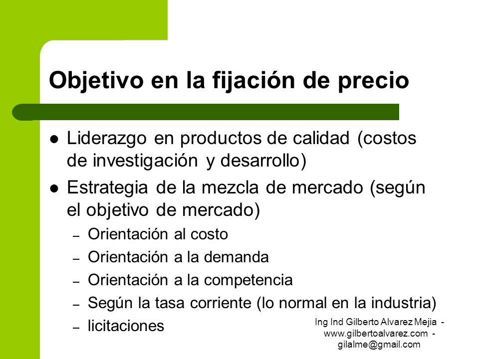 Objetivo en la fijación de precio Liderazgo en productos de calidad (costos de investigación y desarrollo) Estrategia de la mezcla de mercado (según e