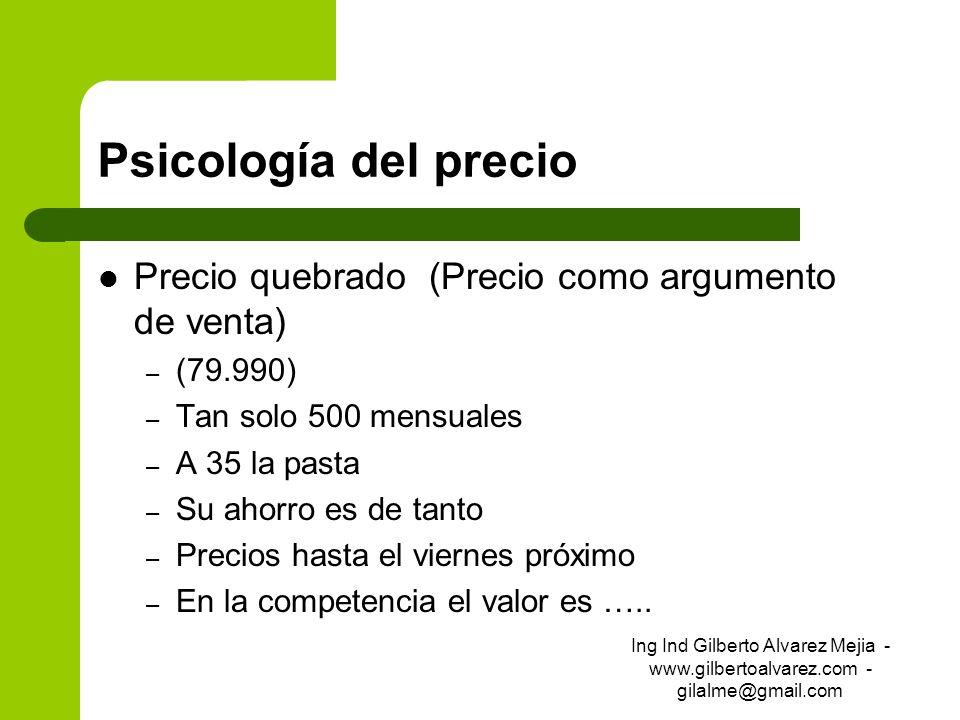 Psicología del precio Precio quebrado (Precio como argumento de venta) – (79.990) – Tan solo 500 mensuales – A 35 la pasta – Su ahorro es de tanto – P