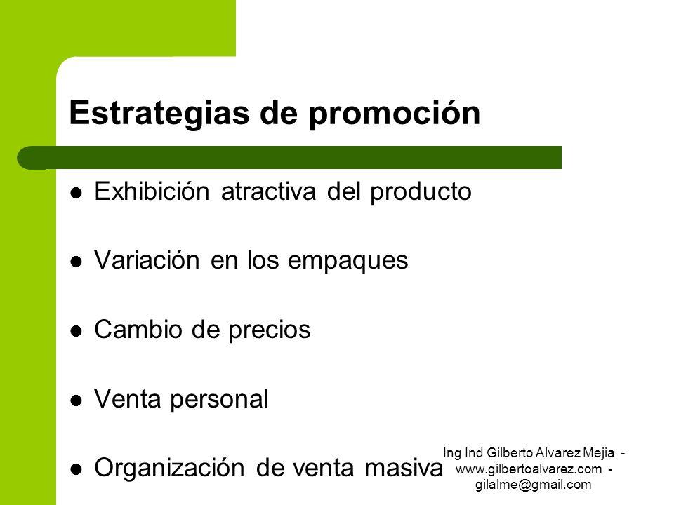 Estrategias de promoción Exhibición atractiva del producto Variación en los empaques Cambio de precios Venta personal Organización de venta masiva Ing