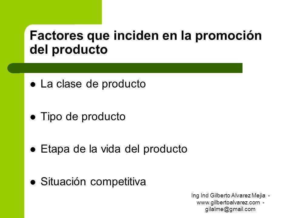 Factores que inciden en la promoción del producto La clase de producto Tipo de producto Etapa de la vida del producto Situación competitiva Ing Ind Gi