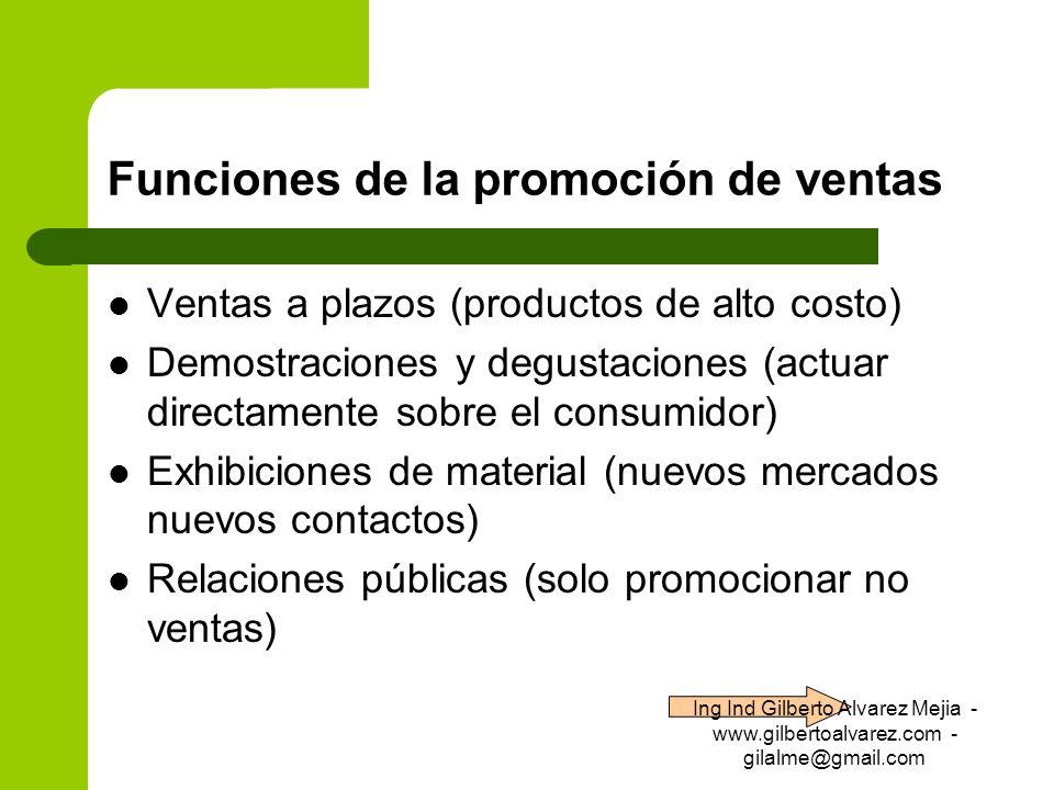 Funciones de la promoción de ventas Ventas a plazos (productos de alto costo) Demostraciones y degustaciones (actuar directamente sobre el consumidor)