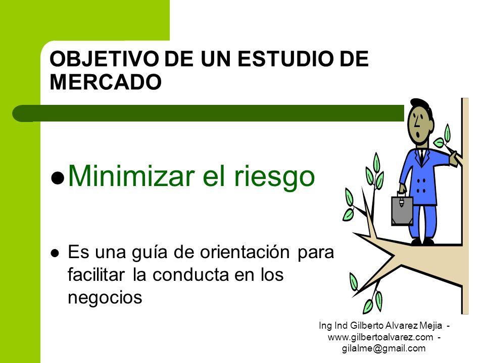 OBJETIVO DE UN ESTUDIO DE MERCADO Minimizar el riesgo Es una guía de orientación para facilitar la conducta en los negocios Ing Ind Gilberto Alvarez M
