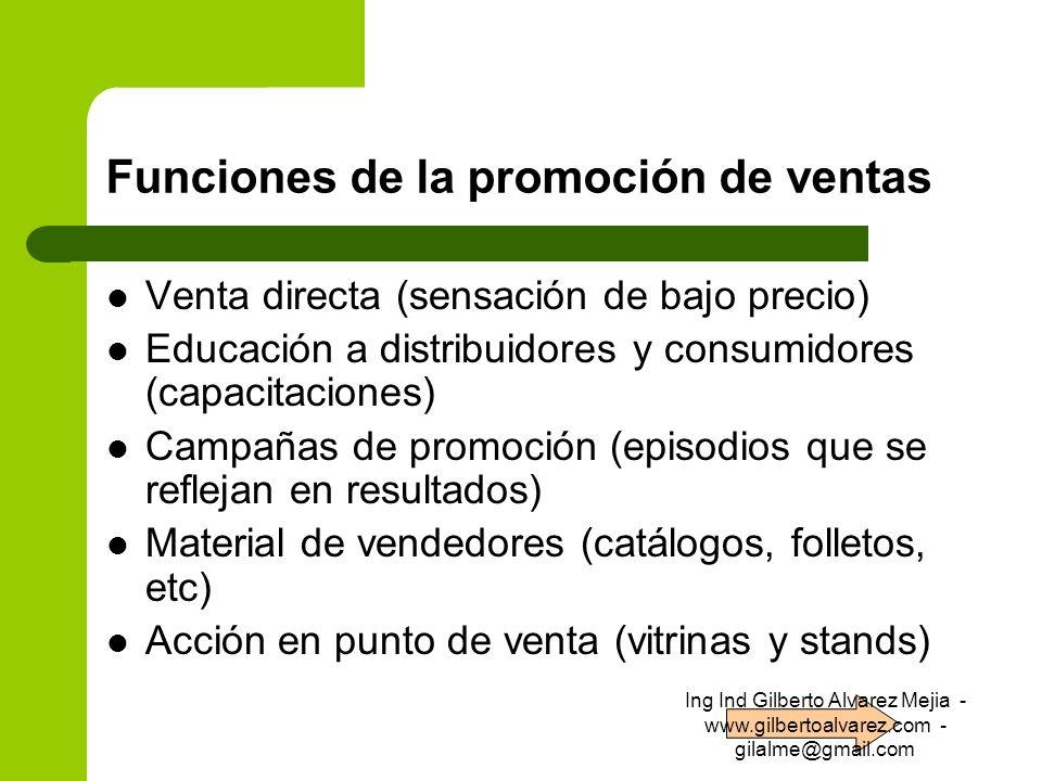 Funciones de la promoción de ventas Venta directa (sensación de bajo precio) Educación a distribuidores y consumidores (capacitaciones) Campañas de pr