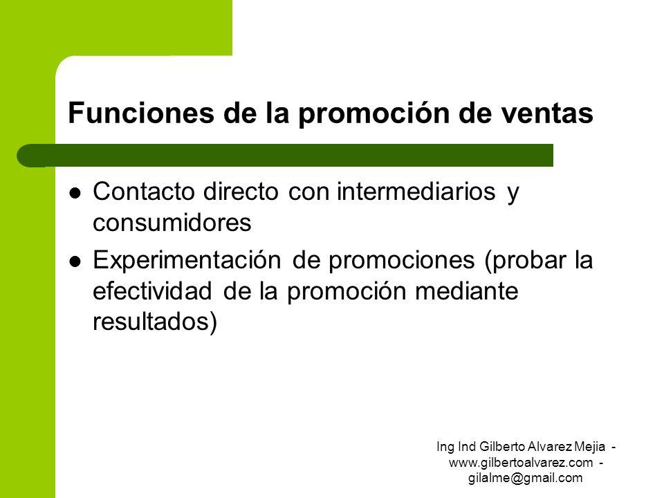 Funciones de la promoción de ventas Contacto directo con intermediarios y consumidores Experimentación de promociones (probar la efectividad de la pro