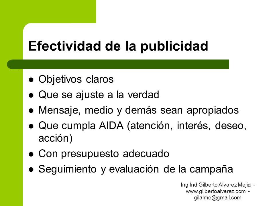 Efectividad de la publicidad Objetivos claros Que se ajuste a la verdad Mensaje, medio y demás sean apropiados Que cumpla AIDA (atención, interés, des