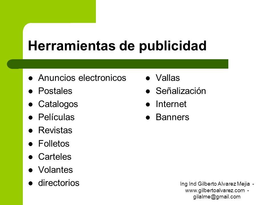 Herramientas de publicidad Anuncios electronicos Postales Catalogos Películas Revistas Folletos Carteles Volantes directorios Vallas Señalización Inte
