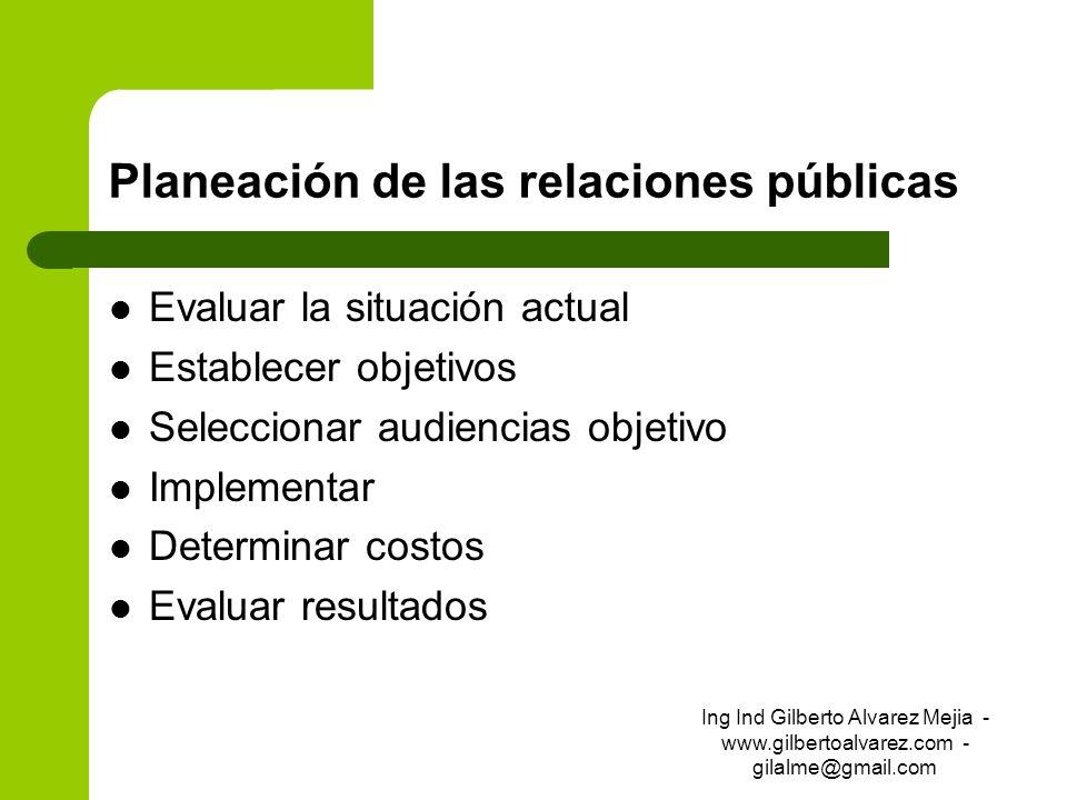 Planeación de las relaciones públicas Evaluar la situación actual Establecer objetivos Seleccionar audiencias objetivo Implementar Determinar costos E