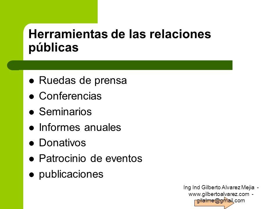 Herramientas de las relaciones públicas Ruedas de prensa Conferencias Seminarios Informes anuales Donativos Patrocinio de eventos publicaciones Ing In