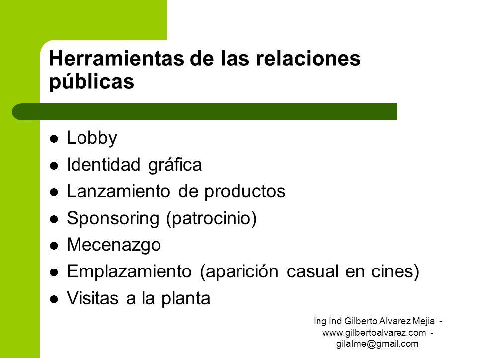 Herramientas de las relaciones públicas Lobby Identidad gráfica Lanzamiento de productos Sponsoring (patrocinio) Mecenazgo Emplazamiento (aparición ca