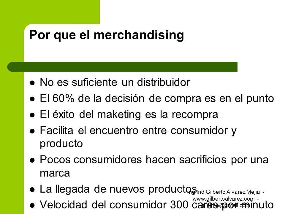 Por que el merchandising No es suficiente un distribuidor El 60% de la decisión de compra es en el punto El éxito del maketing es la recompra Facilita