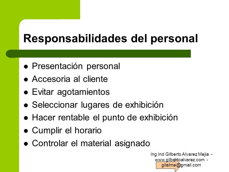 Responsabilidades del personal Presentación personal Accesoria al cliente Evitar agotamientos Seleccionar lugares de exhibición Hacer rentable el punt