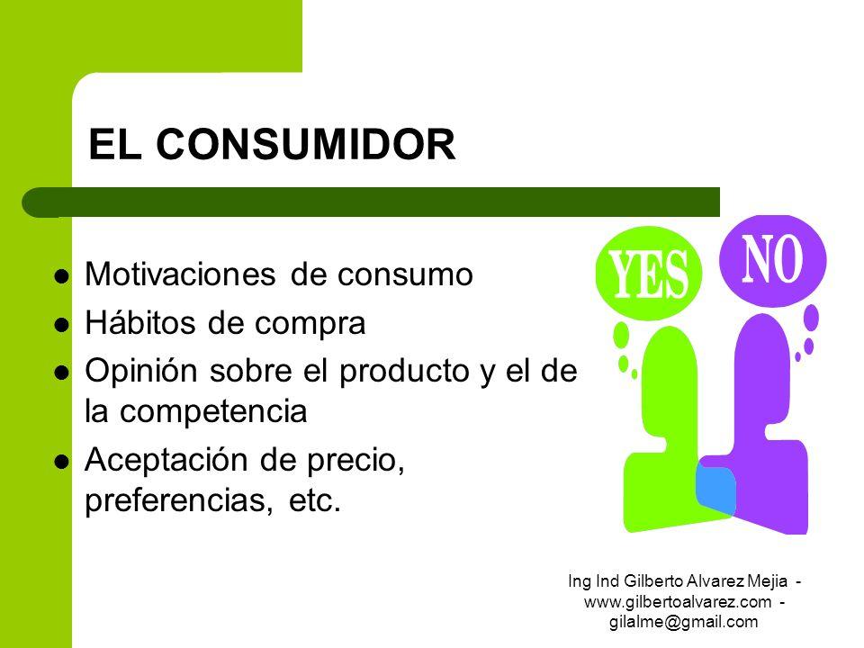 EL CONSUMIDOR Motivaciones de consumo Hábitos de compra Opinión sobre el producto y el de la competencia Aceptación de precio, preferencias, etc. Ing