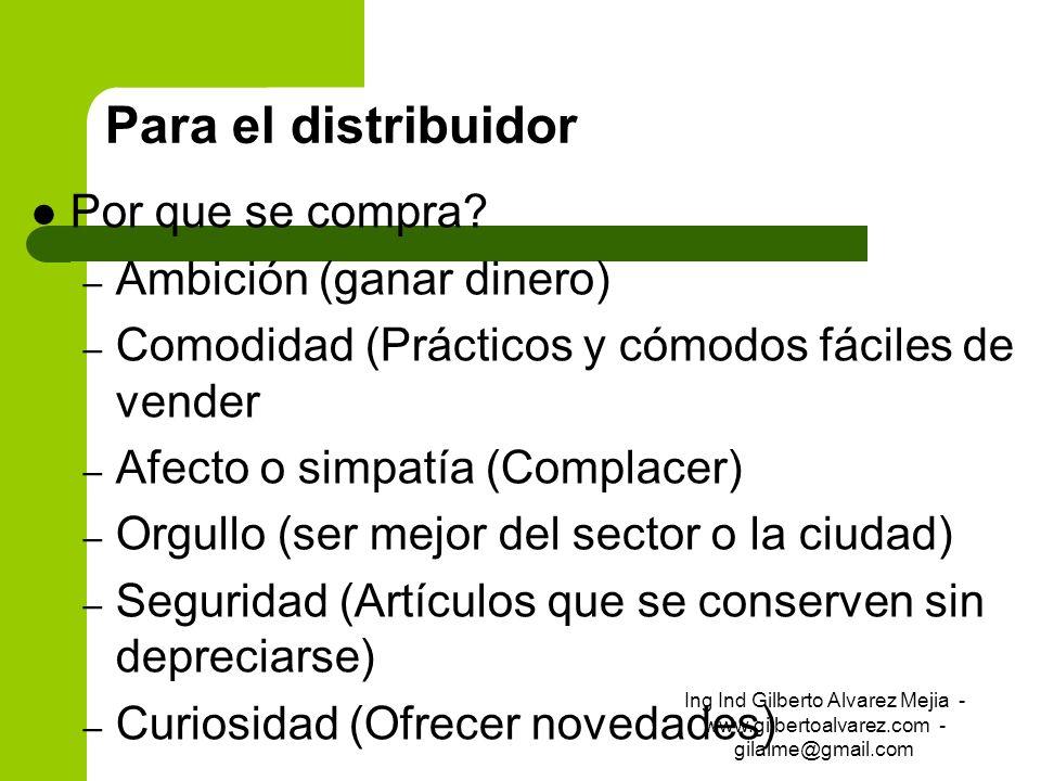 Para el distribuidor Por que se compra? – Ambición (ganar dinero) – Comodidad (Prácticos y cómodos fáciles de vender – Afecto o simpatía (Complacer) –