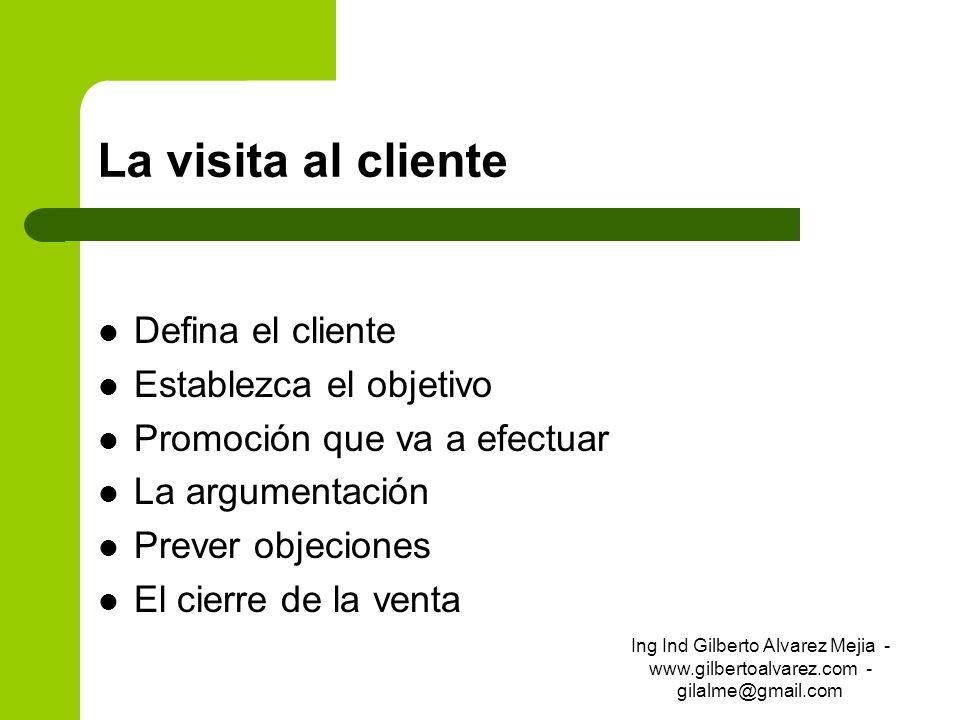 La visita al cliente Defina el cliente Establezca el objetivo Promoción que va a efectuar La argumentación Prever objeciones El cierre de la venta Ing