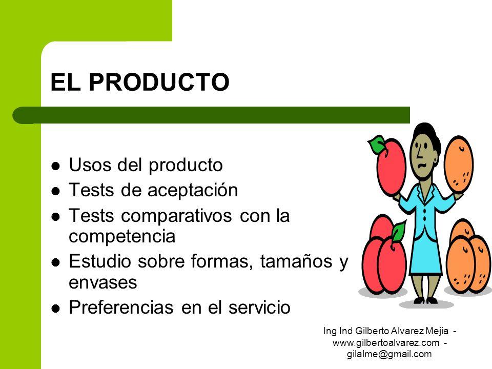 EL PRODUCTO Usos del producto Tests de aceptación Tests comparativos con la competencia Estudio sobre formas, tamaños y envases Preferencias en el ser
