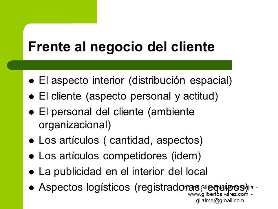 Frente al negocio del cliente El aspecto interior (distribución espacial) El cliente (aspecto personal y actitud) El personal del cliente (ambiente or