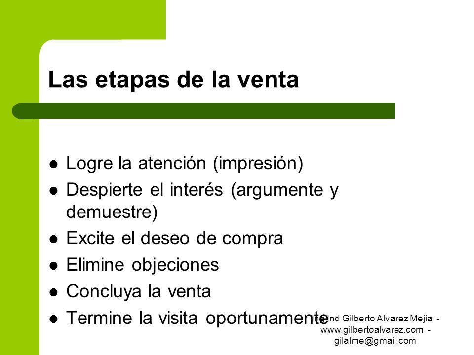 Las etapas de la venta Logre la atención (impresión) Despierte el interés (argumente y demuestre) Excite el deseo de compra Elimine objeciones Concluy