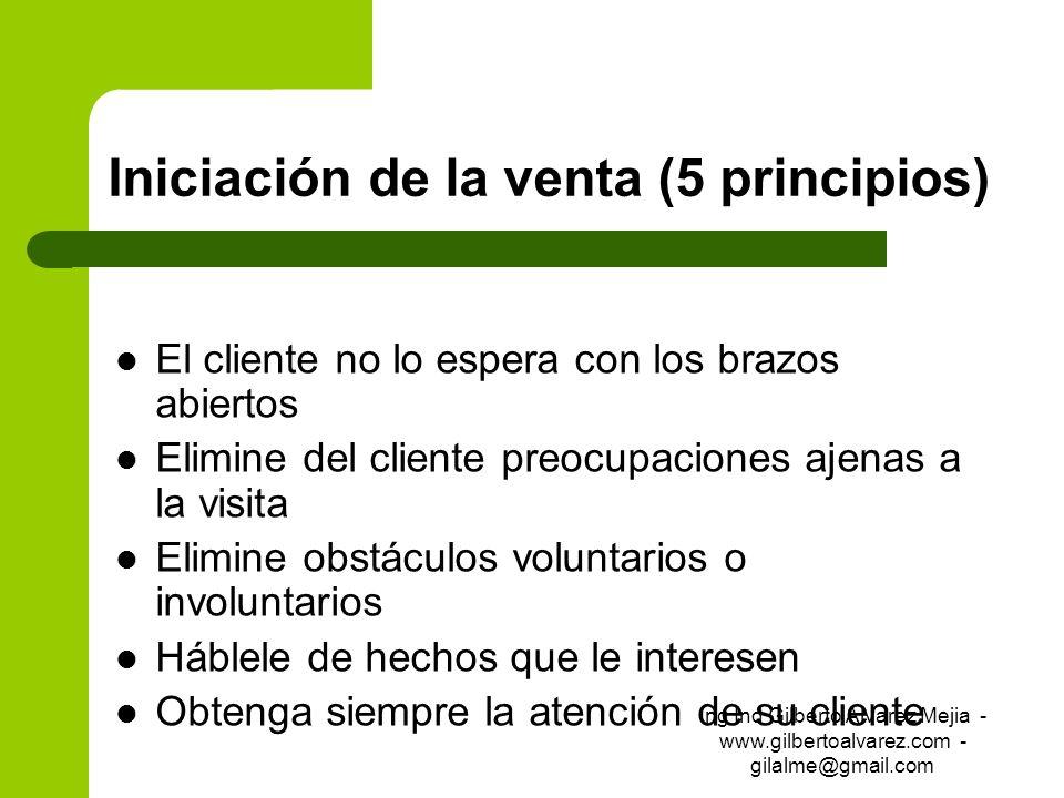 Iniciación de la venta (5 principios) El cliente no lo espera con los brazos abiertos Elimine del cliente preocupaciones ajenas a la visita Elimine ob