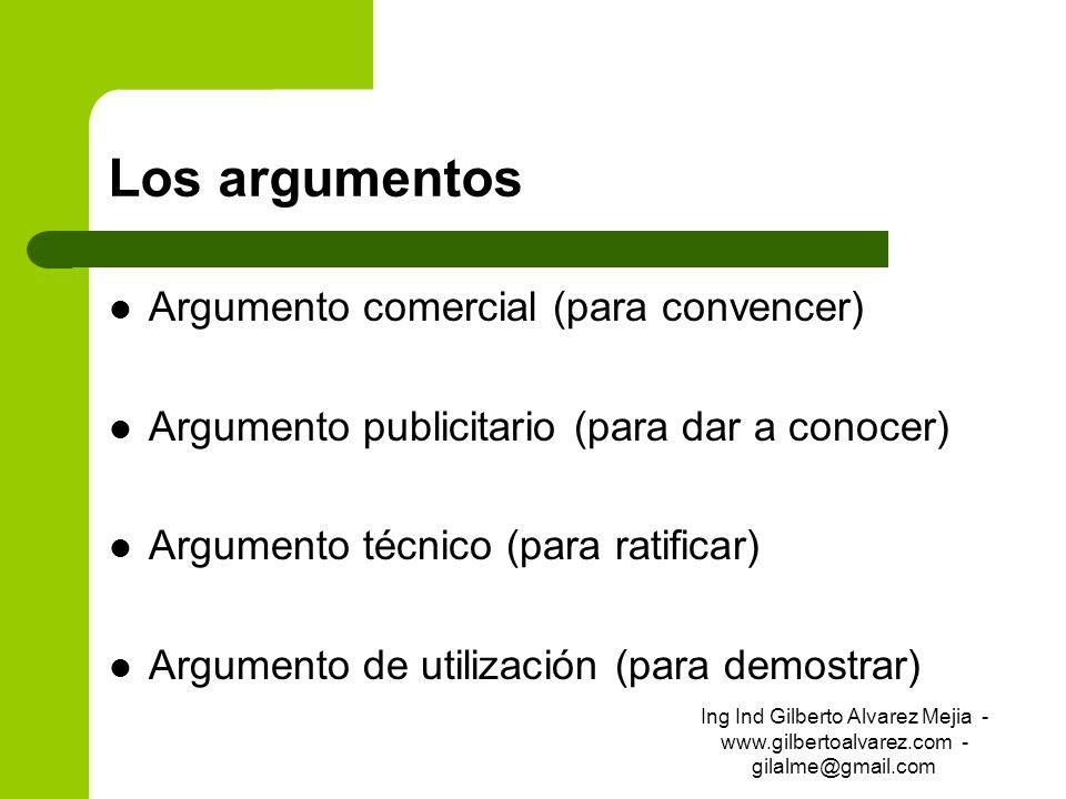 Los argumentos Argumento comercial (para convencer) Argumento publicitario (para dar a conocer) Argumento técnico (para ratificar) Argumento de utiliz