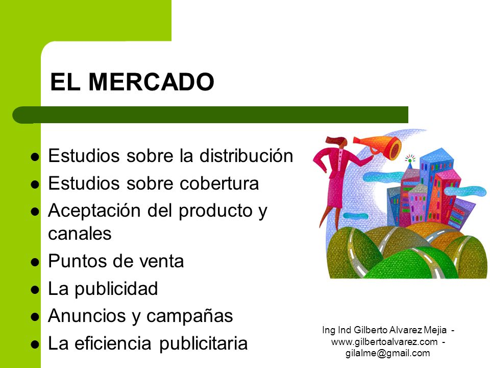 EL MERCADO Estudios sobre la distribución Estudios sobre cobertura Aceptación del producto y canales Puntos de venta La publicidad Anuncios y campañas