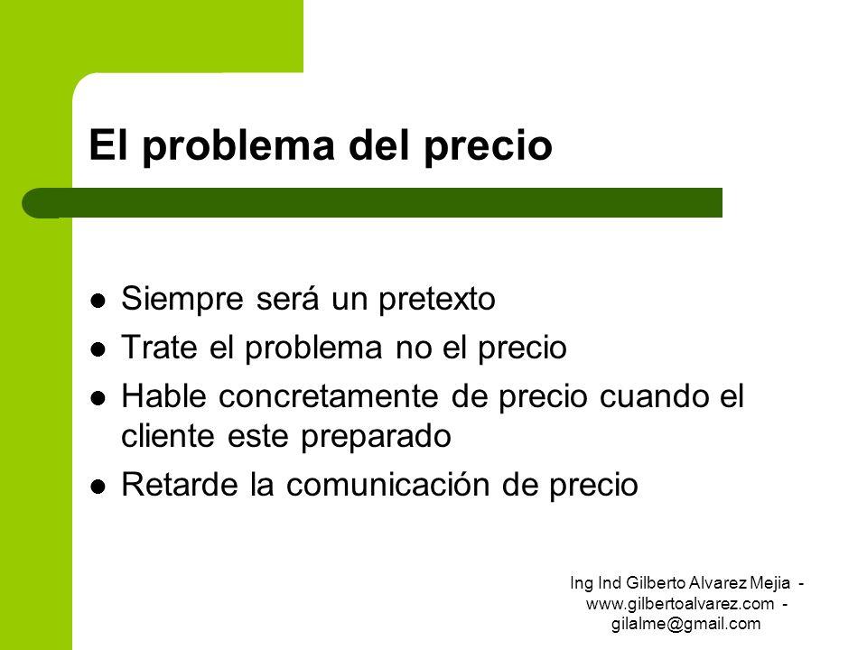 El problema del precio Siempre será un pretexto Trate el problema no el precio Hable concretamente de precio cuando el cliente este preparado Retarde