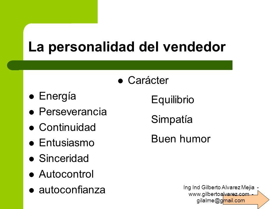 La personalidad del vendedor Carácter Energía Perseverancia Continuidad Entusiasmo Sinceridad Autocontrol autoconfianza Equilibrio Simpatía Buen humor