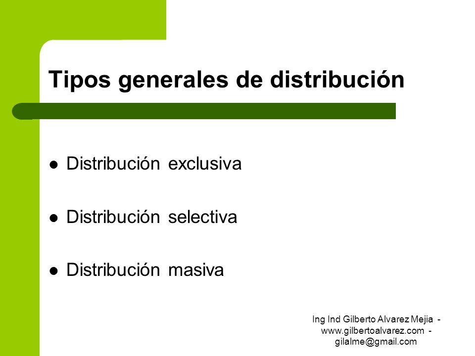 Tipos generales de distribución Distribución exclusiva Distribución selectiva Distribución masiva Ing Ind Gilberto Alvarez Mejia - www.gilbertoalvarez