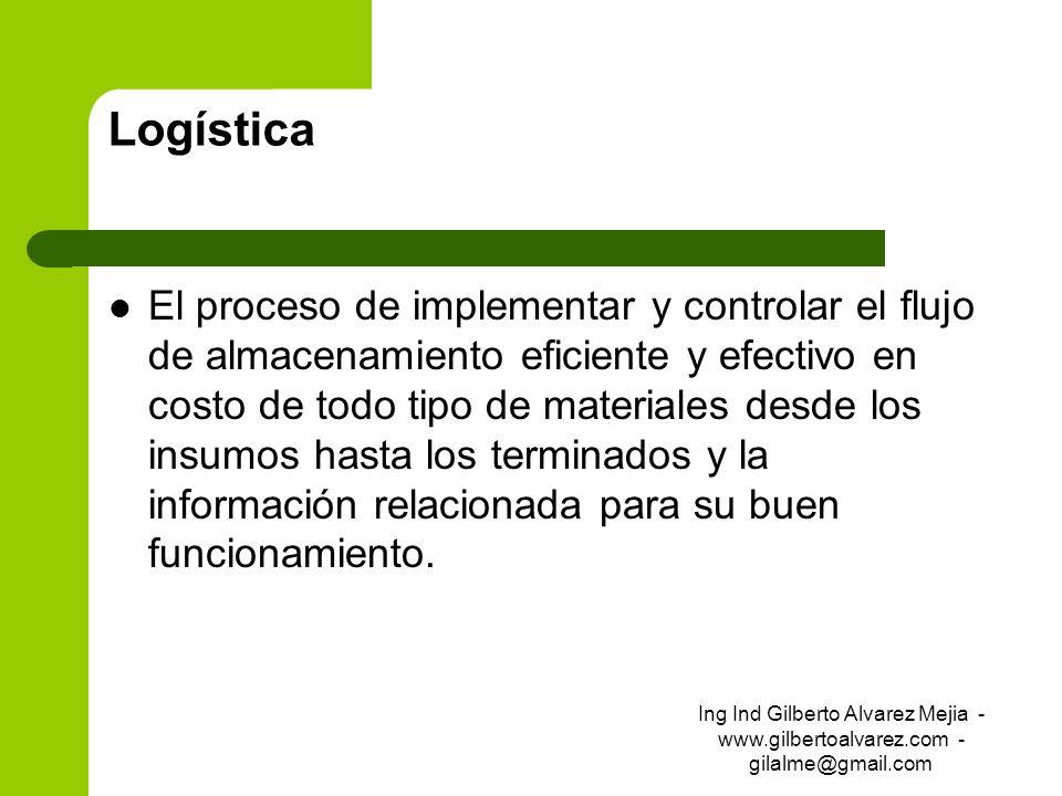 Logística El proceso de implementar y controlar el flujo de almacenamiento eficiente y efectivo en costo de todo tipo de materiales desde los insumos