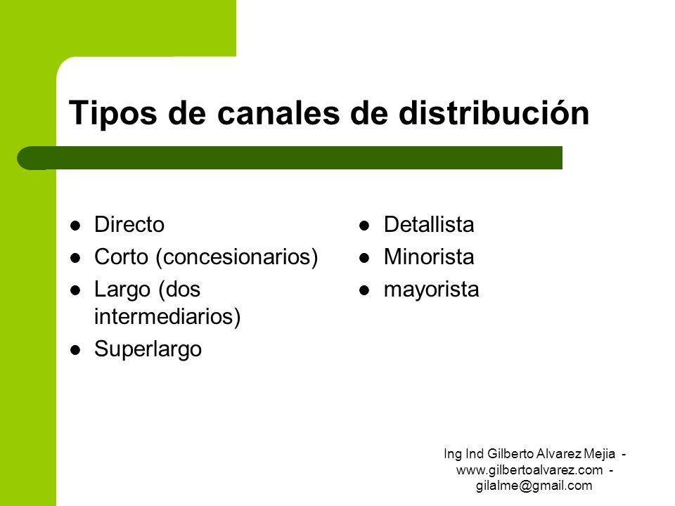 Tipos de canales de distribución Directo Corto (concesionarios) Largo (dos intermediarios) Superlargo Detallista Minorista mayorista Ing Ind Gilberto