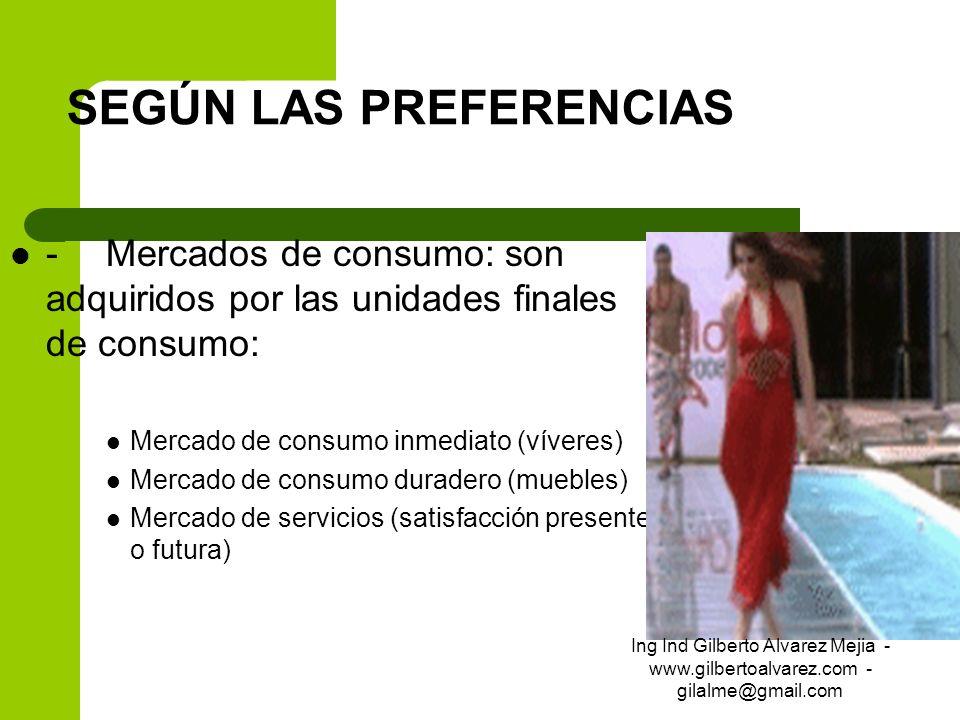 SEGÚN LAS PREFERENCIAS -Mercados de consumo: son adquiridos por las unidades finales de consumo: Mercado de consumo inmediato (víveres) Mercado de con