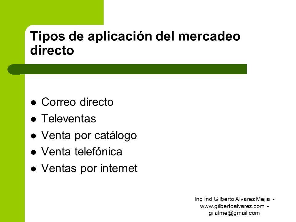 Tipos de aplicación del mercadeo directo Correo directo Televentas Venta por catálogo Venta telefónica Ventas por internet Ing Ind Gilberto Alvarez Me