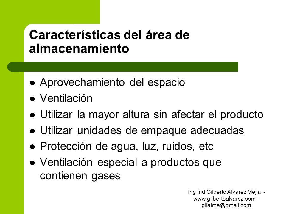 Características del área de almacenamiento Aprovechamiento del espacio Ventilación Utilizar la mayor altura sin afectar el producto Utilizar unidades