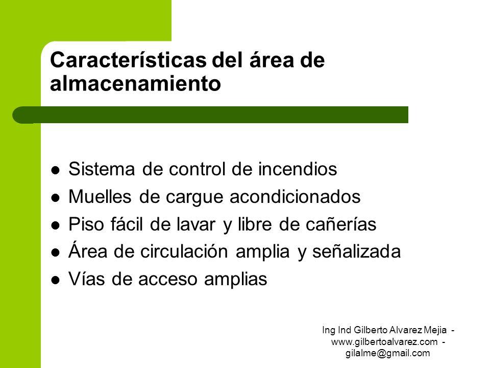 Características del área de almacenamiento Sistema de control de incendios Muelles de cargue acondicionados Piso fácil de lavar y libre de cañerías Ár