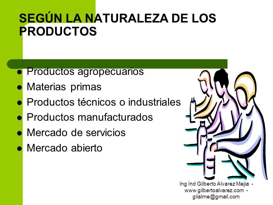 SEGÚN LA NATURALEZA DE LOS PRODUCTOS Productos agropecuarios Materias primas Productos técnicos o industriales Productos manufacturados Mercado de ser
