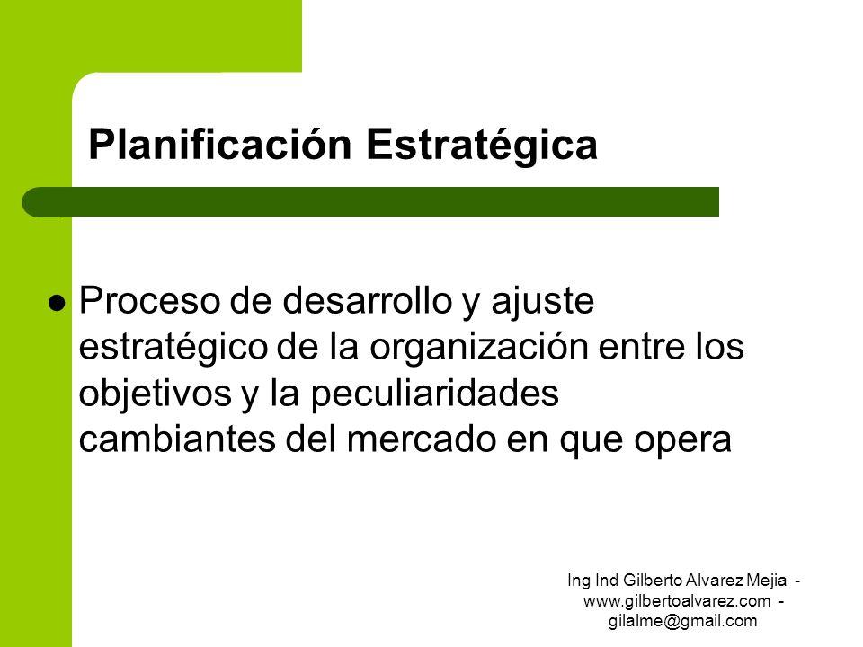 Planificación Estratégica Proceso de desarrollo y ajuste estratégico de la organización entre los objetivos y la peculiaridades cambiantes del mercado