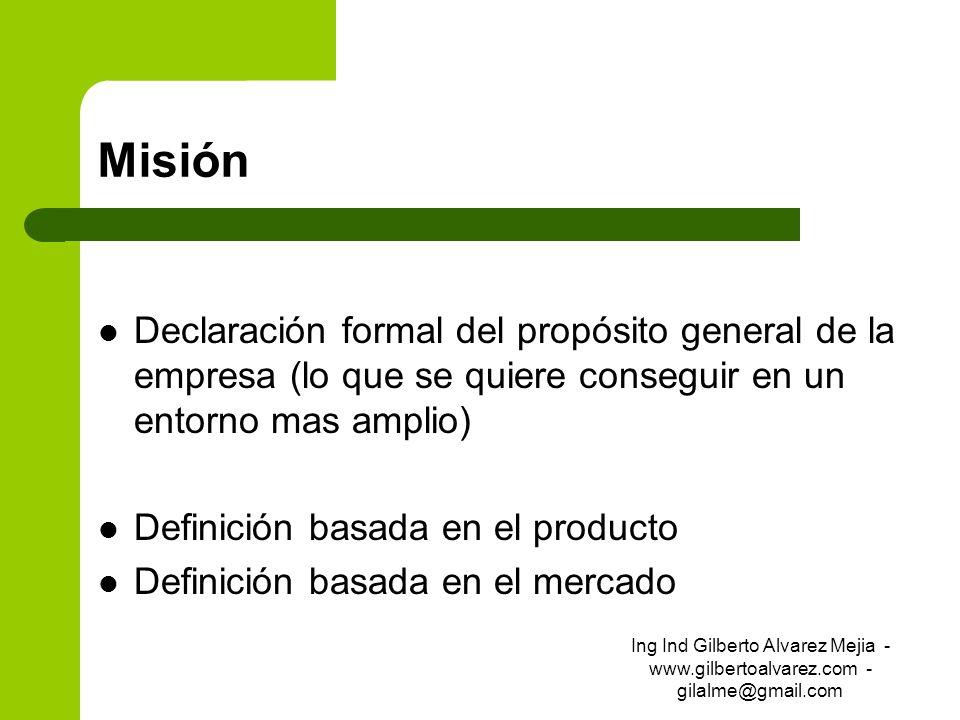 Misión Declaración formal del propósito general de la empresa (lo que se quiere conseguir en un entorno mas amplio) Definición basada en el producto D