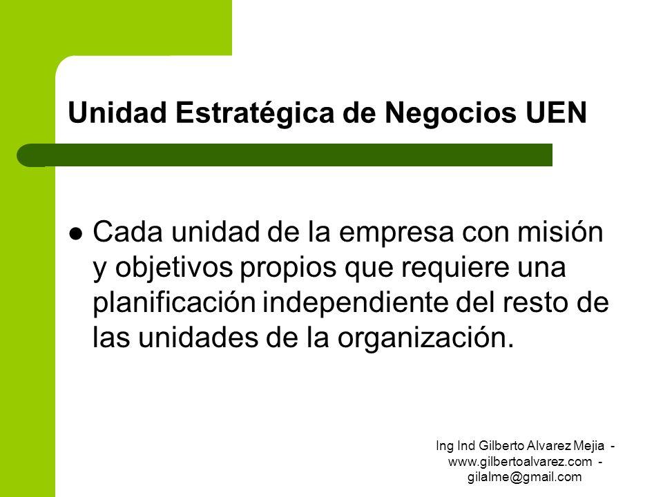 Unidad Estratégica de Negocios UEN Cada unidad de la empresa con misión y objetivos propios que requiere una planificación independiente del resto de