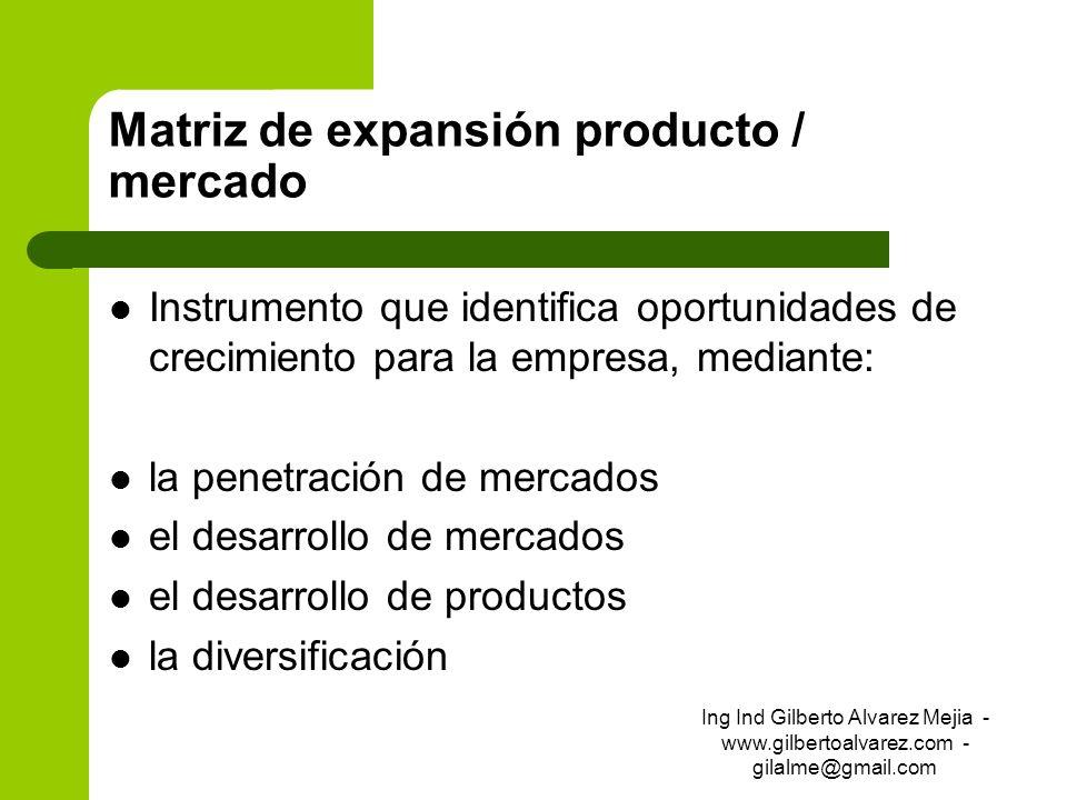 Matriz de expansión producto / mercado Instrumento que identifica oportunidades de crecimiento para la empresa, mediante: la penetración de mercados e