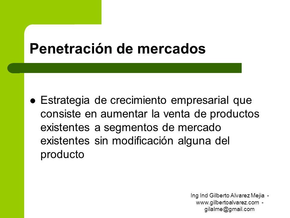 Penetración de mercados Estrategia de crecimiento empresarial que consiste en aumentar la venta de productos existentes a segmentos de mercado existen