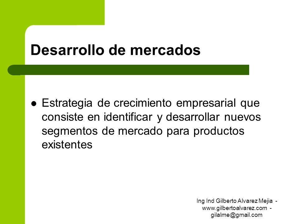 Desarrollo de mercados Estrategia de crecimiento empresarial que consiste en identificar y desarrollar nuevos segmentos de mercado para productos exis