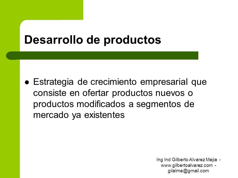 Desarrollo de productos Estrategia de crecimiento empresarial que consiste en ofertar productos nuevos o productos modificados a segmentos de mercado