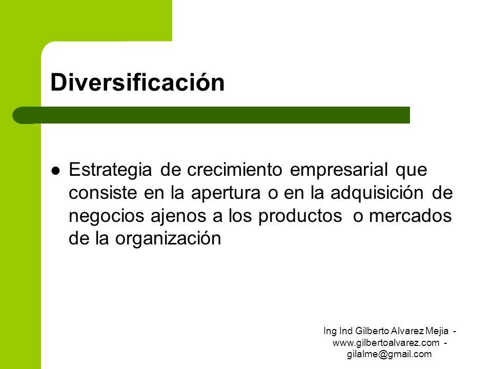 Diversificación Estrategia de crecimiento empresarial que consiste en la apertura o en la adquisición de negocios ajenos a los productos o mercados de