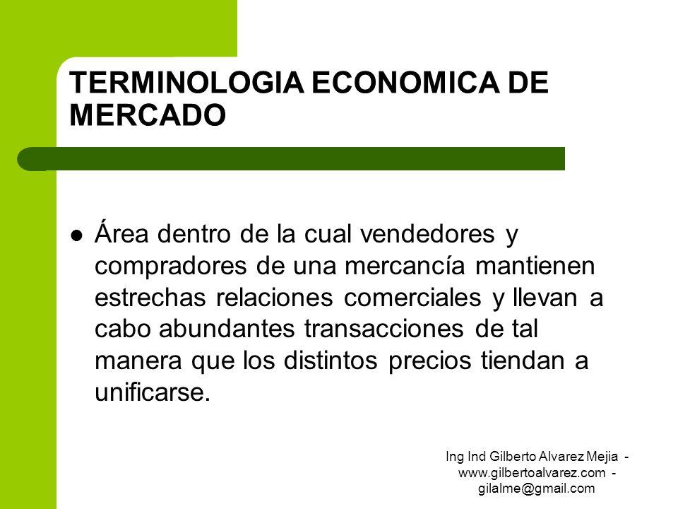 TERMINOLOGIA ECONOMICA DE MERCADO Área dentro de la cual vendedores y compradores de una mercancía mantienen estrechas relaciones comerciales y llevan