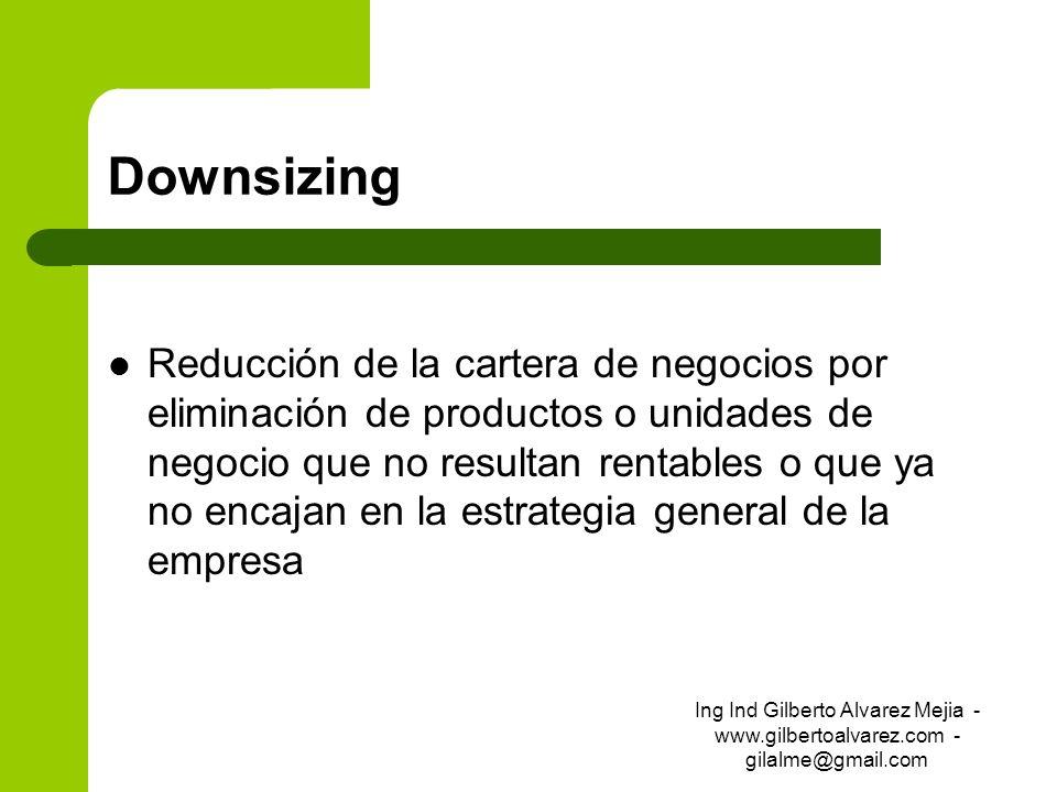 Downsizing Reducción de la cartera de negocios por eliminación de productos o unidades de negocio que no resultan rentables o que ya no encajan en la