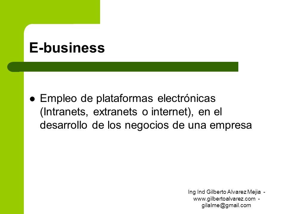 E-business Empleo de plataformas electrónicas (Intranets, extranets o internet), en el desarrollo de los negocios de una empresa Ing Ind Gilberto Alva