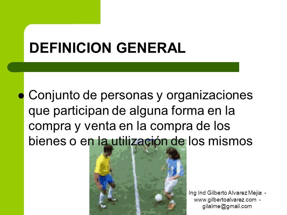 DEFINICION GENERAL Conjunto de personas y organizaciones que participan de alguna forma en la compra y venta en la compra de los bienes o en la utiliz