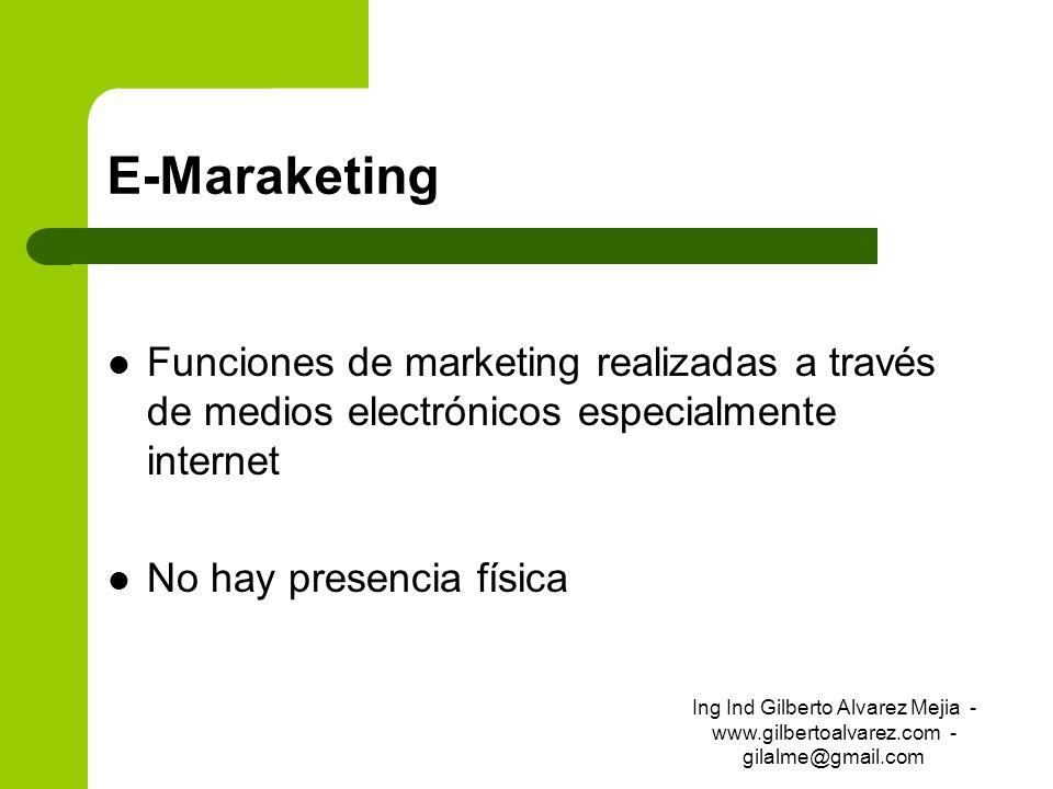 E-Maraketing Funciones de marketing realizadas a través de medios electrónicos especialmente internet No hay presencia física Ing Ind Gilberto Alvarez