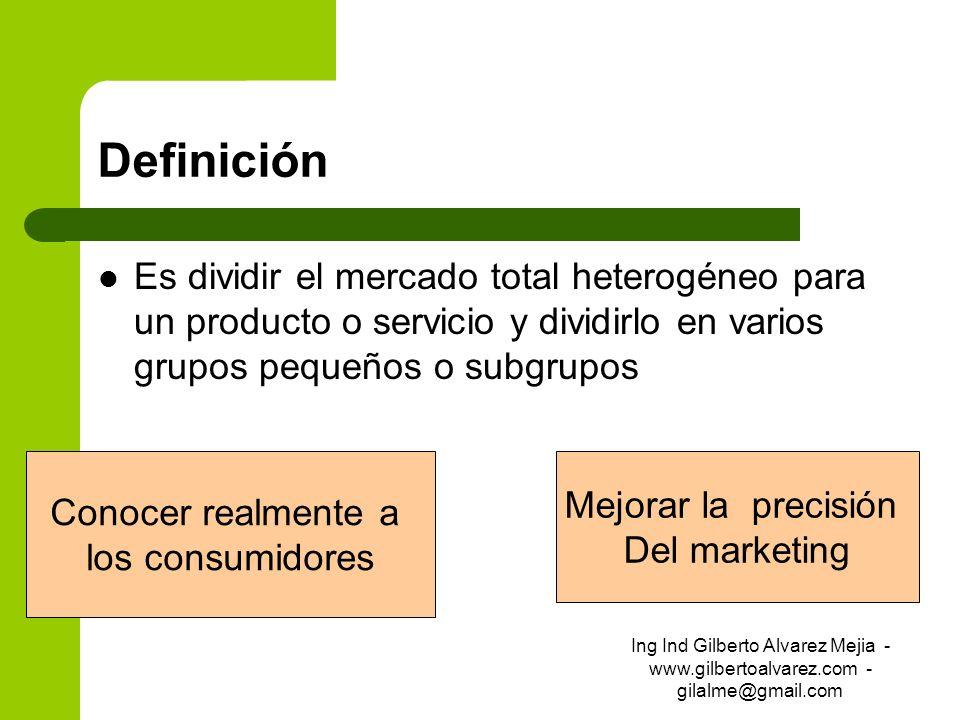 Definición Es dividir el mercado total heterogéneo para un producto o servicio y dividirlo en varios grupos pequeños o subgrupos Conocer realmente a l