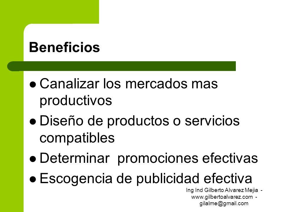 Beneficios Canalizar los mercados mas productivos Diseño de productos o servicios compatibles Determinar promociones efectivas Escogencia de publicida