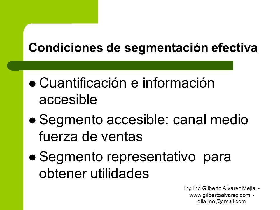 Condiciones de segmentación efectiva Cuantificación e información accesible Segmento accesible: canal medio fuerza de ventas Segmento representativo p